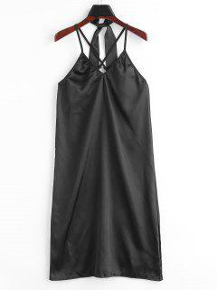 Crisscross Satin Night Dress - Black