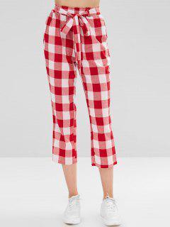 High Waist Belted Plaid Pants - Red Xl