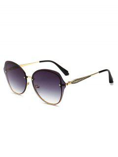 Metal Frame Flat Lens Sunglasses - Black
