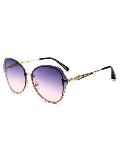 Metal Frame Flat Lens Sunglasses - Medium Purple