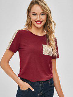 Camiseta De Jersey De Bolsillo Con Parche De Lentejuelas - Vino Tinto M