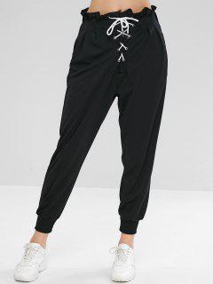 Pantalon De Jogging Taille Haute à Lacets Plissé - Noir L