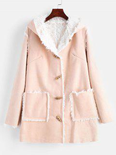 Faux Suede Hooded Sheepskin Duffle Coat - Apricot L