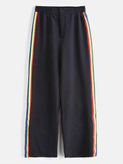 Colorful Stripes Wide Leg Pants - Black S