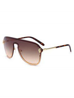 Punk Skull Decorative Shield Sunglasses - Brown
