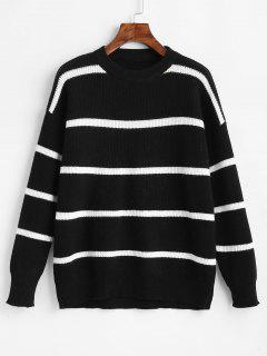 Drop Shoulder Striped Color Block Sweater - Black