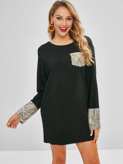 Vestido De Camiseta Con Lentejuelas De Bolsillo - Negro S