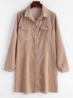 Press Stud Corduroy Mini Shirt Dress - Camel Brown S