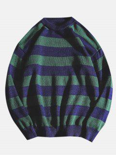 Color Block Striped Knit Sweater - Blueberry Blue L