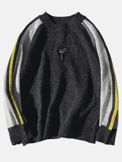 Raglan Sleeve Contrast Knit Sweater - Black L