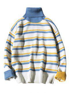 Contrast Horizontal Striped Turtleneck Knit Sweater - White 2xl