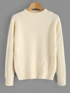 Suéter De Punto Suelto De Cable De Color Sólido - Amarillo De Mazorca De Maíz