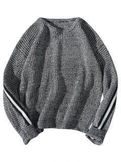 Suéter De Punto Con Rayas En Contraste - Gris L