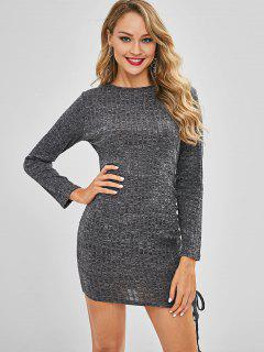 Ruched Heather Mini Dress - Dark Gray L
