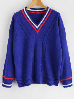 Slit Striped V Neck Sweater - Blue