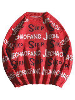 Jersey De Punto Con Cuello Redondo De Punto - Rojo Xl