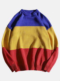 Color Block Knit Sweater - Multi L