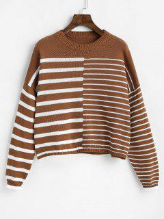Loose Drop Shoulder Striped Sweater - Light Brown