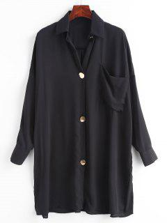 Slit Button Down Front Pocket Shirt - Black S