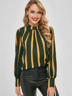 Vertical Striped Pleated Front Top - Multi L