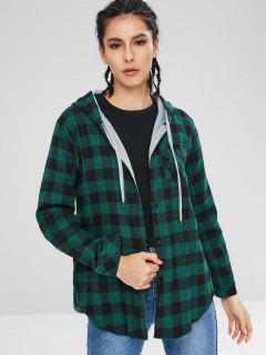 Chemise à Carreaux à Capuche - Vert Mer Moyen M