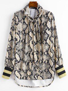Camisa Con Estampado De Serpiente A Rayas Y Lazo - Multicolor S