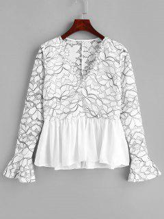 Blusa De Encaje Con Cuello En V - Blanco M
