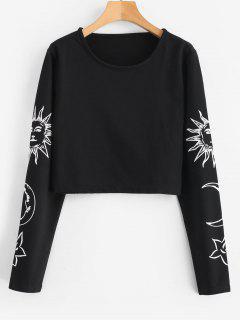 Graphic Sleeve Cropped Sweatshirt - Black M