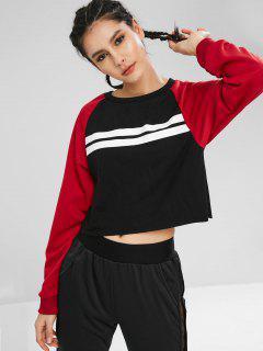 Raglan Sleeve Striped Cropped Pullover Sweatshirt - Multi Xl