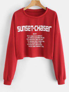 SUNSET Letter Crop Sweatshirt - Red S