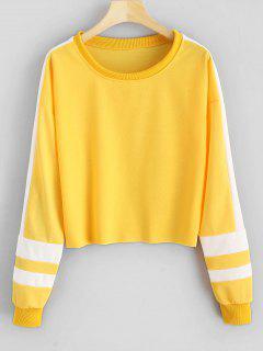 Stripe Contrast Crop Sweatshirt - Yellow S
