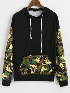 Camoflage Drop Shoulder Pocket Hoodie - Black Xl