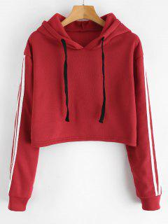 Striped Fleece Lined Crop Hoodie - Red L