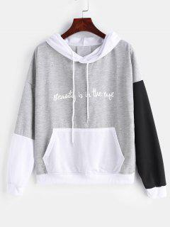 Front Pocket Color Block Graphic Hoodie - Multi-b S