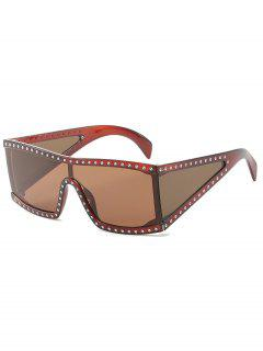 Shiny Rhinestone Inlaid Oversized Sunglasses - Deep Brown