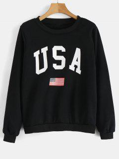 Sudadera Con Gráfico De Bandera De EE. - Negro M