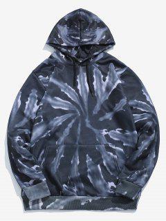 Tie Dye Print Fleece Hoodie - Black Xl