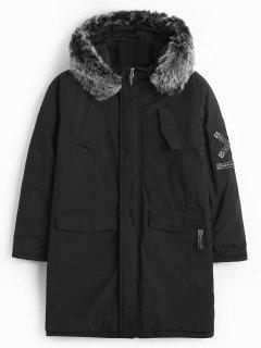 Fluffy Hooded Belt Embellish Padded Coat - Black M