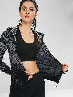 Zip Up Geometric Sport Gym Hoodie - Black L
