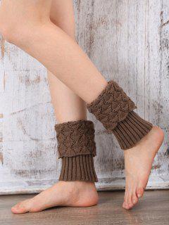 Stylish Shell Pattern Flanging Short Leg Warmers - Dark Khaki