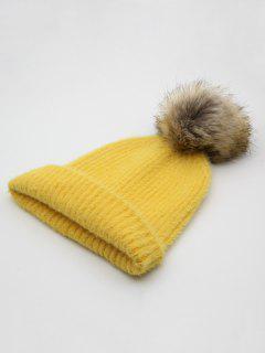 Winter Flanging Pom Pom Beanie - Yellow