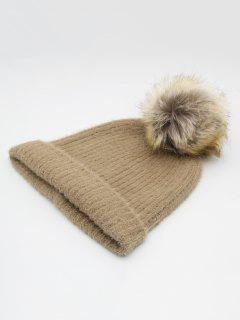 Winter Flanging Pom Pom Beanie - Tan