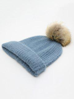 Winter Flanging Pom Pom Beanie - Blue