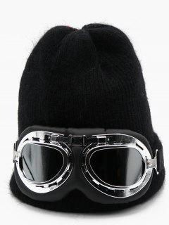 Novelty Eye Mask Knitted Ski Cap - Black