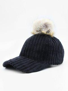 Winter Striped Fuzzy Ball Graphic Hat - Black