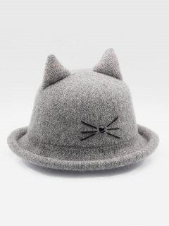 Cute Cartoon Cat Woolen Hat - Gray