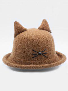 Cute Cartoon Cat Woolen Hat - Brown
