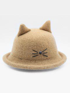 Cute Cartoon Cat Woolen Hat - Khaki