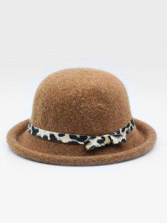 Vintage Leopard Bowknot Woolen Hat - Brown