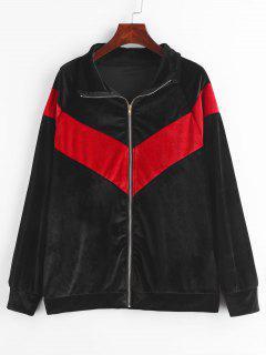 Color Block Raglan Sleeves Zip Up Velvet Coat - Black Xl
